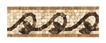 Micro Mosaic Stone Liner Border - MM3008 - Travertine & Emperador Dark Marble Listello Strip - Tumbled Finish
