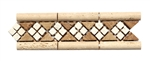 Micro Mosaic Stone Liner Border - MM3012 - Travertine 3D Relief Raised Listello Strip - Tumbled Finish