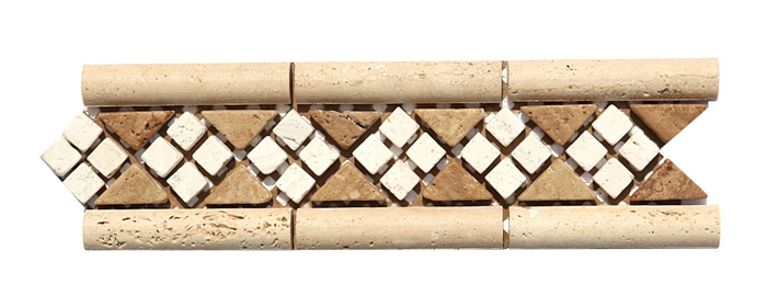 Micro Mosaic Stone Liner Border Mm3012 Travertine Relief Raised Listello Strip Tumbled Finish