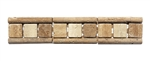 Micro Mosaic Stone Liner Border - MM3014 - Travertine 3D Relief Raised Listello Strip - Tumbled Finish
