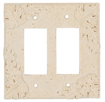 Resin Faux Stone Wall Switch Plate Outlet Cover - Double GFCI Rocker - Leaves - Light Travertine Color