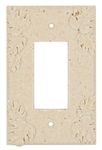 Resin Faux Stone Wall Switch Plate Outlet Cover - Single GFCI Rocker - Leaves - Light Travertine Color