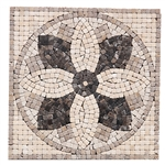 "Jeffrey Court Micro Flower Panel Medallion - Emperador Crema 12"" X 12"" Natural Stone Mosaic Medallion"