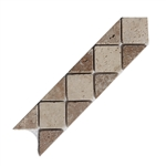 Tumbled Travertine Stone Liner - 3 X 12 Classic Light & Noce Travertine Border LIstello Strip