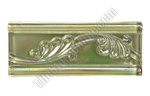 Iridescent Glass Tile Liner Border - 2 1/2 X 6 Glass Leaf Relief Liner Deco Border - 2.5X6 Decorative Glass Liner Border - Olive Green - Iridescent