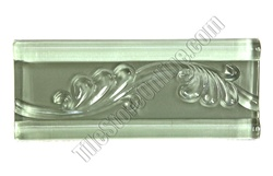 Glass Tile Liner Border - 2 1/2 X 6 Glass Leaf Relief Liner Deco Border - 2.5X6 Decorative Glass Liner Border - Mint Green - Glossy