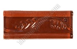 Glass Tile Liner Border - 2 1/2 X 6 Glass Leaf Relief Liner Deco Border - 2.5X6 Decorative Glass Liner Border - Rust - Glossy