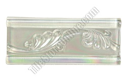 Iridescent Glass Tile Liner Border - 2 1/2 X 6 Glass Leaf Relief Liner Deco Border - 2.5X6 Decorative Glass Liner Border - White Clear - Iridescent