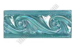 Iridescent Glass Tile Liner Border - 2 1/2 X 6 Glass Wave Relief Liner Deco Border - 2.5X6 Decorative Glass Liner Border - Blue - Iridescent