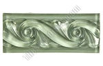 Glass Tile Liner Border - 2 1/2 X 6 Glass Wave Relief Liner Deco Border - 2.5X6 Decorative Glass Liner Border - Mint Green - Glossy