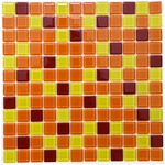 Glass Tile - 1X1 Crystal Glass Tile Mosaic - GM007 Orange Yellow Red Multicolor Blend - Glossy