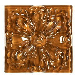 Glass Tile Relief Deco - 4 X 4 Large Glass Flower Deco - 4X4 Decorative Glass Insert - Brown - Glossy