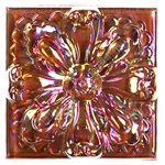 Glass Tile Relief Deco - 4 X 4 Large Glass Flower Deco - 4X4 Decorative Glass Insert - Rust - Iridescent