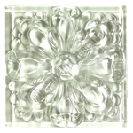 Glass Tile Relief Deco - 4 X 4 Large Glass Flower Deco - 4X4 Decorative Glass Insert - White Clear - Glossy