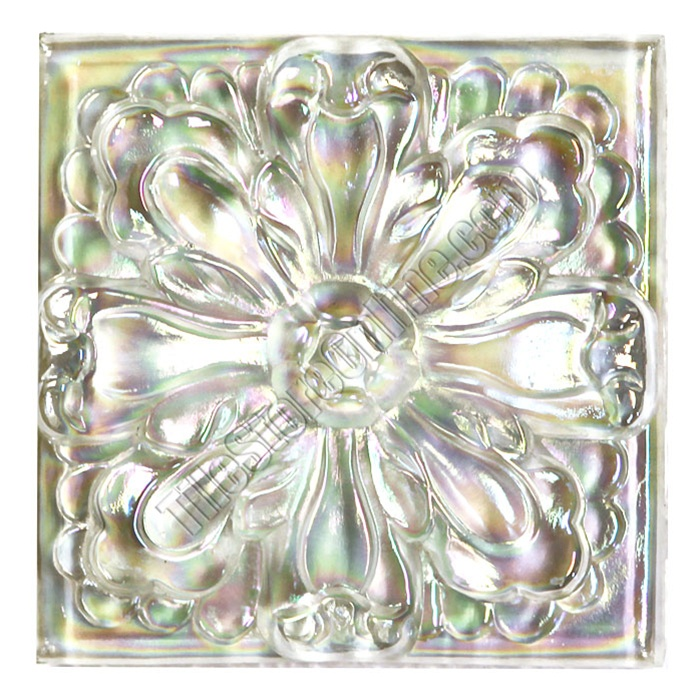 Glass Tile Relief Deco X Large Glass Flower Deco X - Decorative 4x4 metal tiles