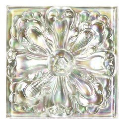 Glass Tile Relief Deco - 4 X 4 Large Glass Flower Deco - 4X4 Decorative Glass Insert - White Clear - Iridescent