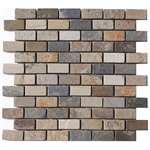 Slate Mosaic - 1 X 2 Brick Subway Autumn Slate Mosaic - Tumbled