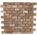 Slate Mosaic - 1 X 2 Copper Quartz Slate Brick Subway Mosaic - Tumbled