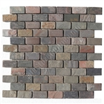 Slate Mosaic - 1 X 2 Brick Subway Multicolor Slate Mosaic - Tumbled