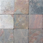 Tumbled Slate Tile - 4 X 4 Multicolor Natural Slate Stone Tile - Tumbled