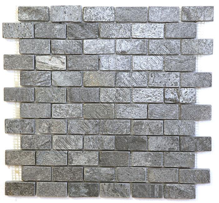 Slate Mosaic 1 X 2 Ostrich Gray Quartz Brick Subway Tumbled