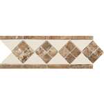 "Daltile - Fashion Accents - 4"" X 12"" FA52 Tile and Travertine Liner - 0135 Almond Noce - Dal Tile Decorative Border Liner Tile"