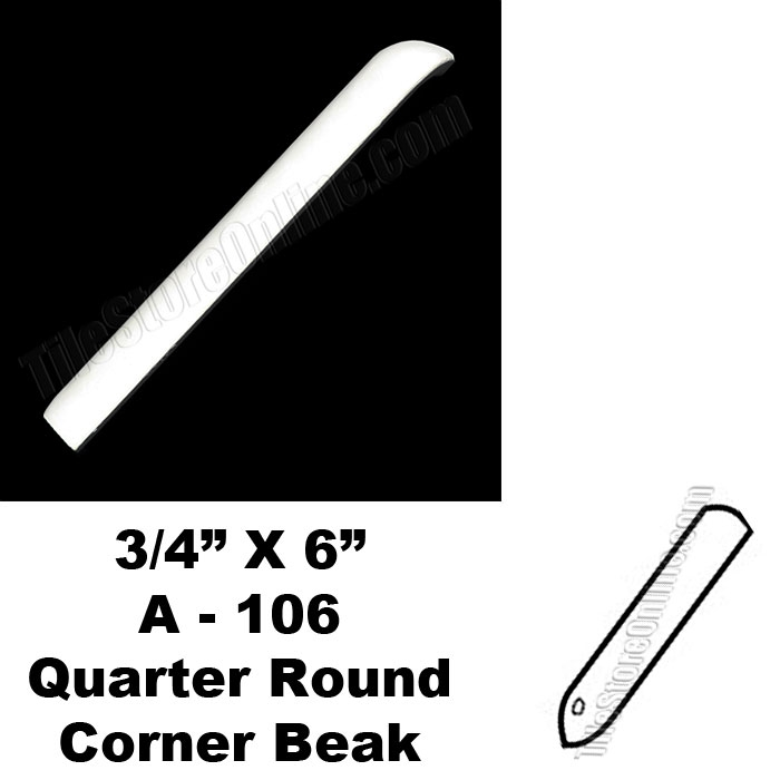 Daltile 0400 Mayan White 34x6 Quarter Round Out Corner Beak