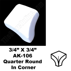 Daltile - 0400 Mayan White - 3/4 X 3/4 Quarter Round In Corner - AK106 Dal Tile Ceramic Trim Tile