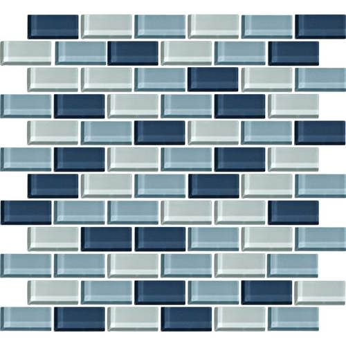 Daltile Color Wave Glass CW Winter Blues Blend X Brick - Daltile tucson az