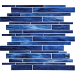 Daltile Serenade Stained Glass Mosaic - F181 Memphis Blues Blend - Random Linear Glass Tile Mosaic