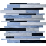 Daltile Serenade Stained Glass Mosaic - F187 Motor City - Random Linear Glass Tile Mosaic