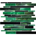 Daltile Serenade Stained Glass Mosaic - F189 Emerald City - Random Linear Glass Tile Mosaic