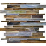 Daltile Serenade Stained Glass Mosaic - F190 Blue Grass - Random Linear Glass Tile Mosaic