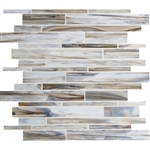 Daltile Serenade Stained Glass Mosaic - F192 Surf Rock - Random Linear Glass Tile Mosaic