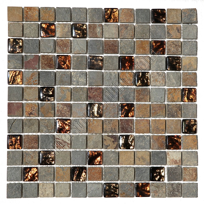 Gl And Slate Quartz Mosaic Tile Pacifica Cristallo Ardesia 1 X Caxst830625 Bronze Foil