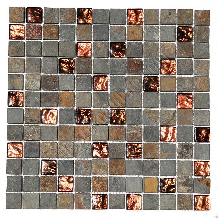 Pacifica Cristallo Ardesia Caxst830640 Copper 1 X Foil Gl And Slate Quartz Mosaic Tile