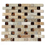 Pacifica Cristallo Ardesia - CAXST841144 Caramel Basket Weave - Glass & Slate Quartz Basketweave Mosaic Tile - ODD LOT SUPER DEAL