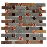 Pacifica Cristallo Ardesia - CAXST841155 Copper Basket Weave - Foil Glass and Slate Quartz Mosaic Tile