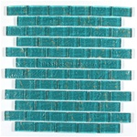 Glass Tile - 1X2 Glass Tile Subway Brick Mosaic - BKC61 Blue Gold - Rippled