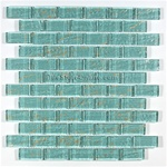 Glass Tile - 1X2 Glass Tile Brick Subway Mosaic - BKC63 Aqua Gold - Rippled