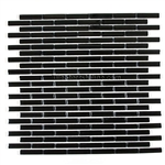 1/2 X 2 Glass Tile Mini Brick Stick Mosaic - CV003-3 Black Glossy - Iridescent * SAMPLE *