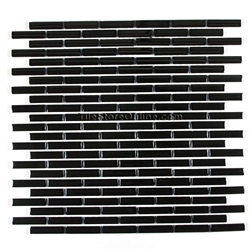 Glass Tile - 1/2 X 2 Glass Tile Mini Subway Brick Stick Mosaic - CV003-3 Black Glossy - Iridescent