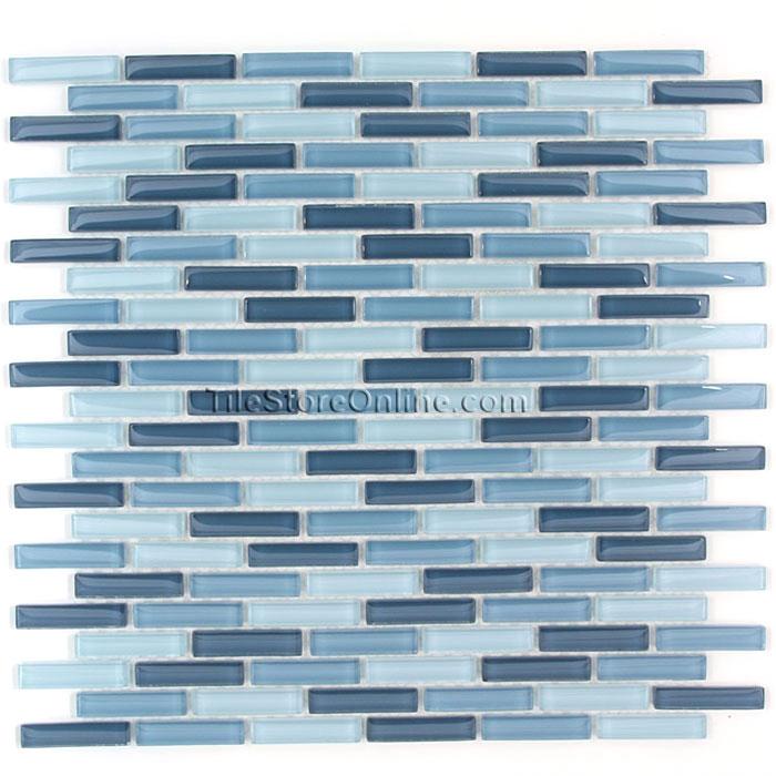 Gl Tile 1 2 X Mini Subway Brick Stick Mosaic Cv056 Blue Blend