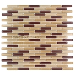 1/2 X 2 Glass Tile Mini Brick Stick Mosaic - CV058 Brown Blend - Glossy * SAMPLE *