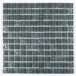 1 X 1 Glass Tile Mosaic - DGG001 Gray Rippled Glossy Mix - Iridescent * SAMPLE *