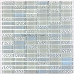Glass Tile - 5/8 X 2 Glass Tile Mini Brick Mosaic - DGWS001 Clear Rippled Glossy Mix - Iridescent