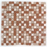 5/8 X 5/8 Glass and Stone Mosaic - GSM022 Stone and Frosted Glass - Brown Blend 2 * SAMPLE *
