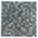 5/8 X 5/8 Glass and Stone Mosaic - GSM023 Stone, Glossy and Frosted Glass - Grey Blend * SAMPLE *