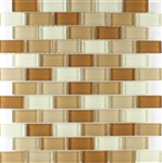 Glass Tile - 1X2 Glass Brick Subway Mosaic Tile - SDS032 Brown Blend - Glossy
