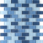 Glass Tile - 1X2 Glass Brick Subway Mosaic Tile - SDS056 Blue Blend - Glossy